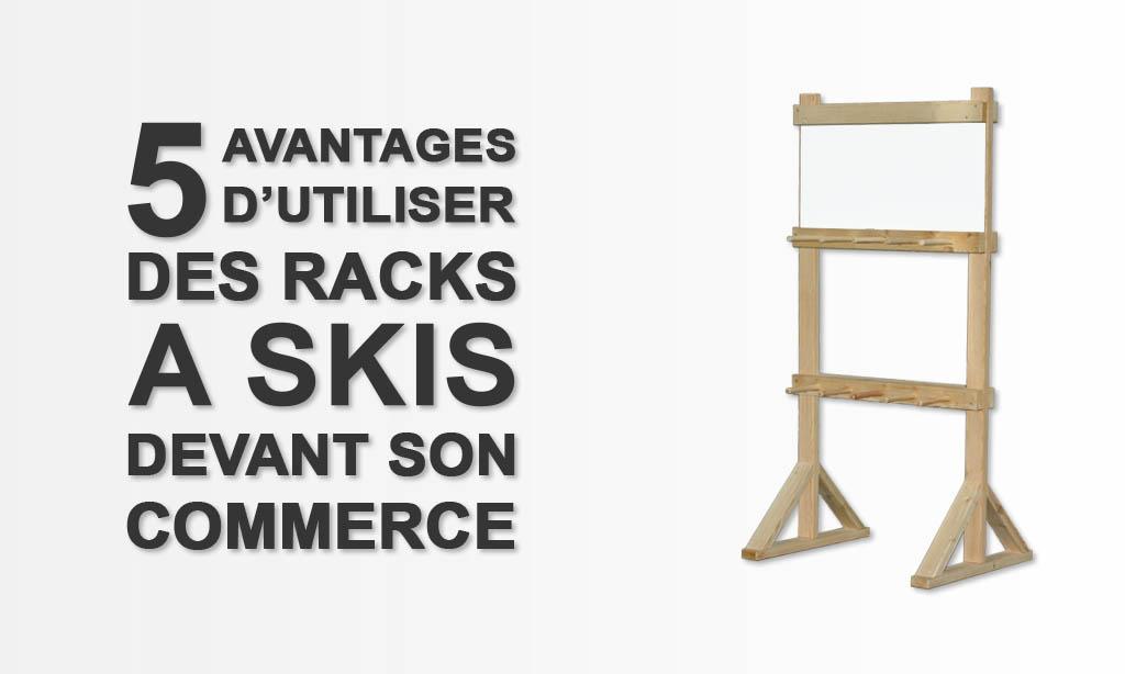 racks à skis avec pub pour commerce