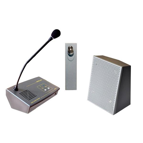 Interphone de guichet avec microphone sur pupitre compact