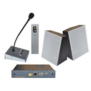 Interphone de guichet numérique avec unité centrale et deux haut parleurs