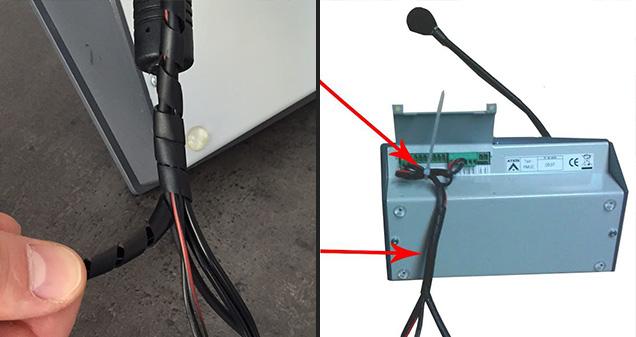 Rangement des cables du pupitre de l'interphone de guichet