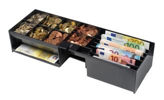 Insert pour tiroir-caisse rempli de monnaie + billets
